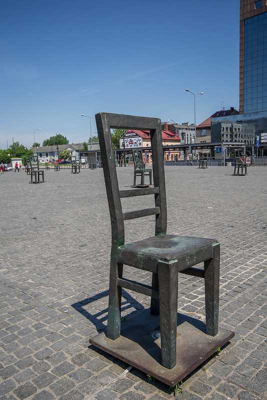 Memorial to the Jews of the Jewish ghetto in Krakow