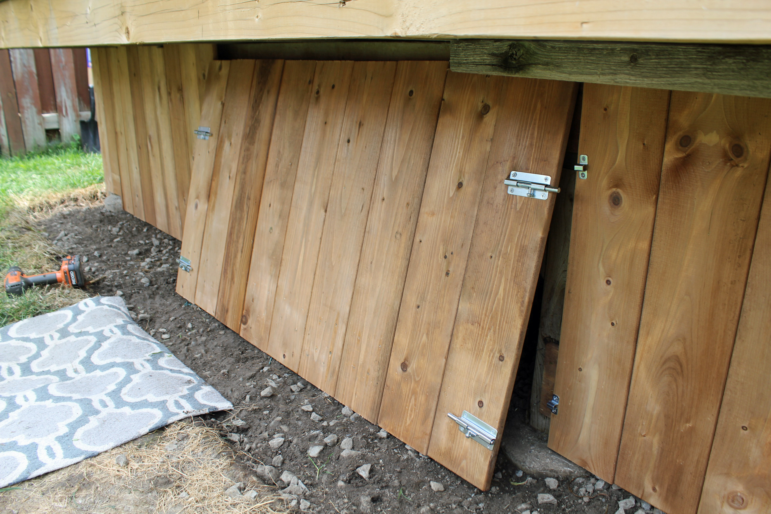 under-deck enclosure with access door