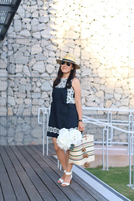 simplyxclassic, madewell dress, navy blue embroidered dress, summer dress, asos, crew, mar y sol bag, blogger, mommy blogger, fashion blogger, style blogger, ootd, orange county, lifestyle blogger