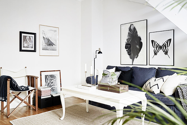 White and Blue Swedish Apartment