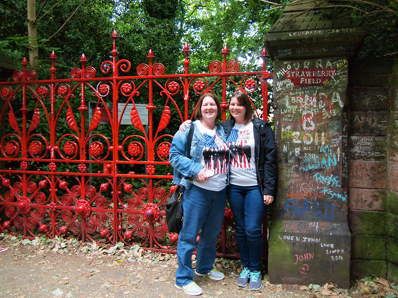 Me and mom at Strawberry Field in Liverpool