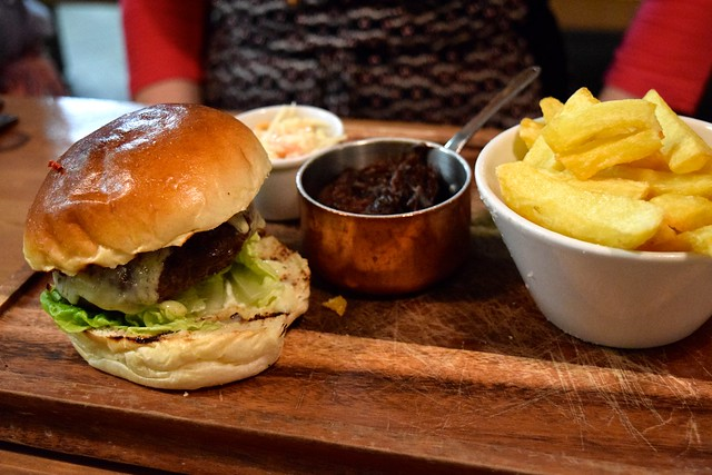 House Burger with Pulld Ox Cheek at Drygate Brewery, Glasgow