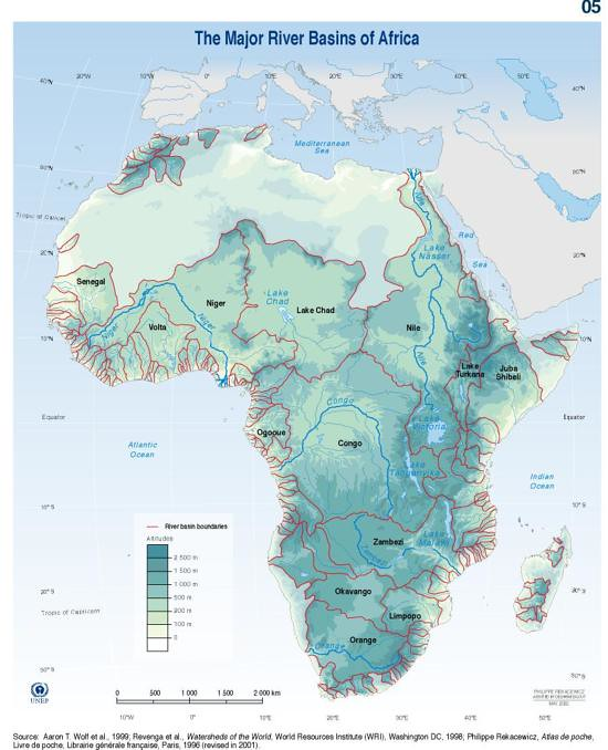 Lake Volta Africa Map.Major River Basins Of Africa Grid Arendal