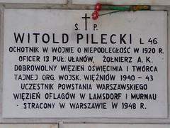 Witold Pilecki memorial plaque on the wall of Kościół św Stanisława Kostki (St Stanislaus Kostka Church)
