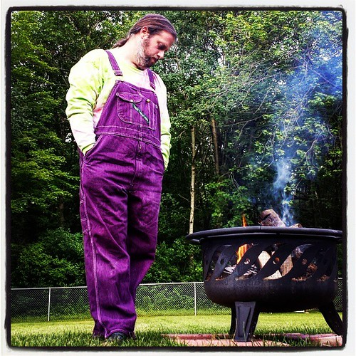 Summer's first fire #FirePit #overalls #Key #purple #tiedye