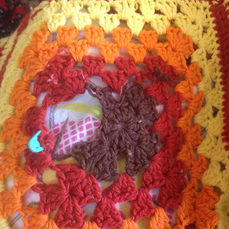 Repairing hole in Granny Square Blanket
