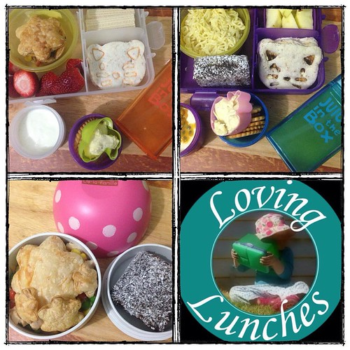 Loving our lunches from today… the girls both had @cutezcute cat 🐱 sandwiches in their @nudefoodmovers and juice in their @boardwalkimports #juiceinthebox I used the juice in Miss M's #JIB to treat her peeled/sliced apple 🍎 Honey & I had cheats