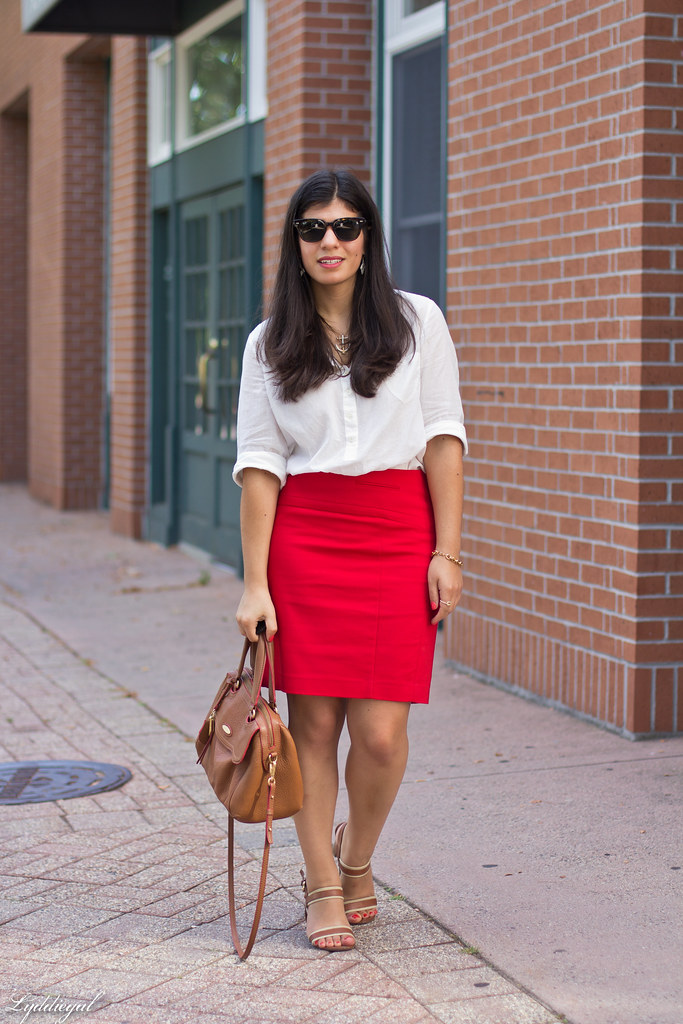 white popover, red pencil skirt, brown bag and sandals-1.jpg