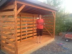 Rachel built a woodshed.