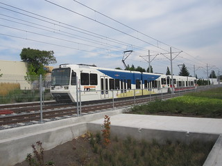 A train sits in the pocket track east of the 11th-12th-Milwaukie-Clinton station