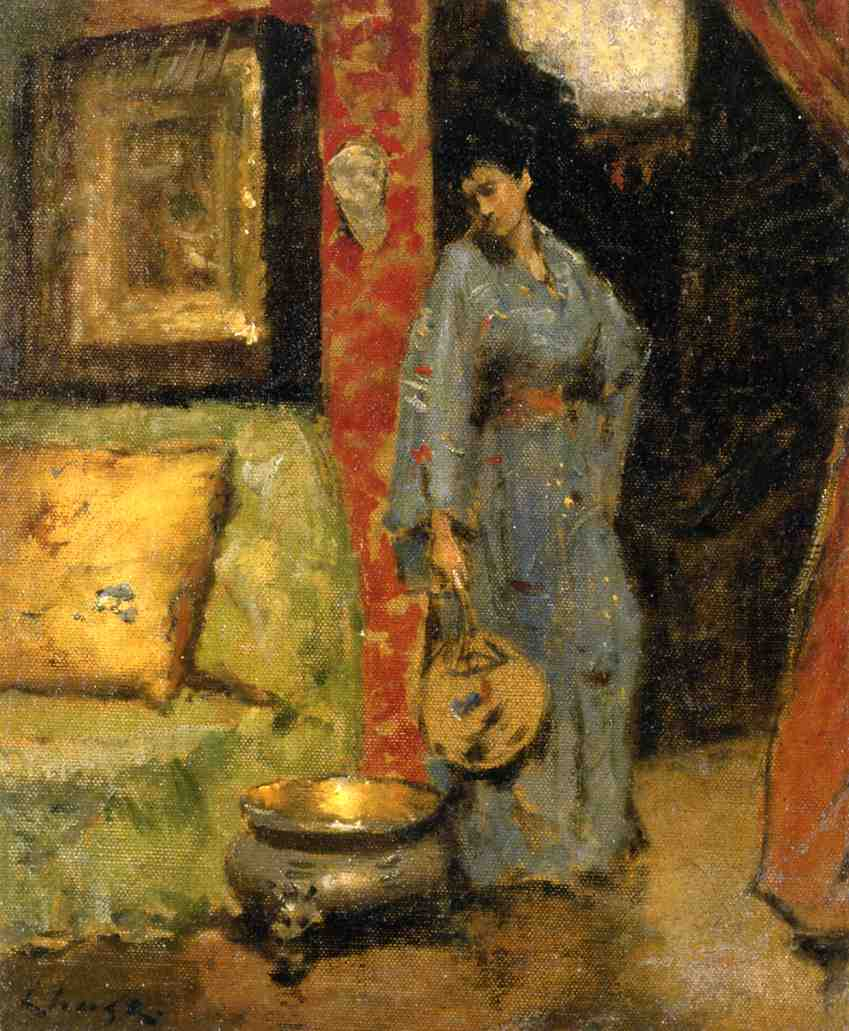 Woman in Kimono Holding a Japanese Fan by William Merritt Chase