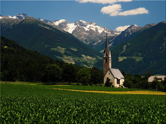 The St. Valentine's Church near Pfalzen in South Tyrol