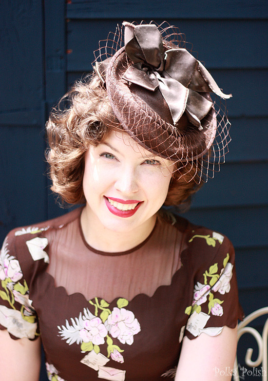 Summer 1940s tilt hat with novelty rayon dress