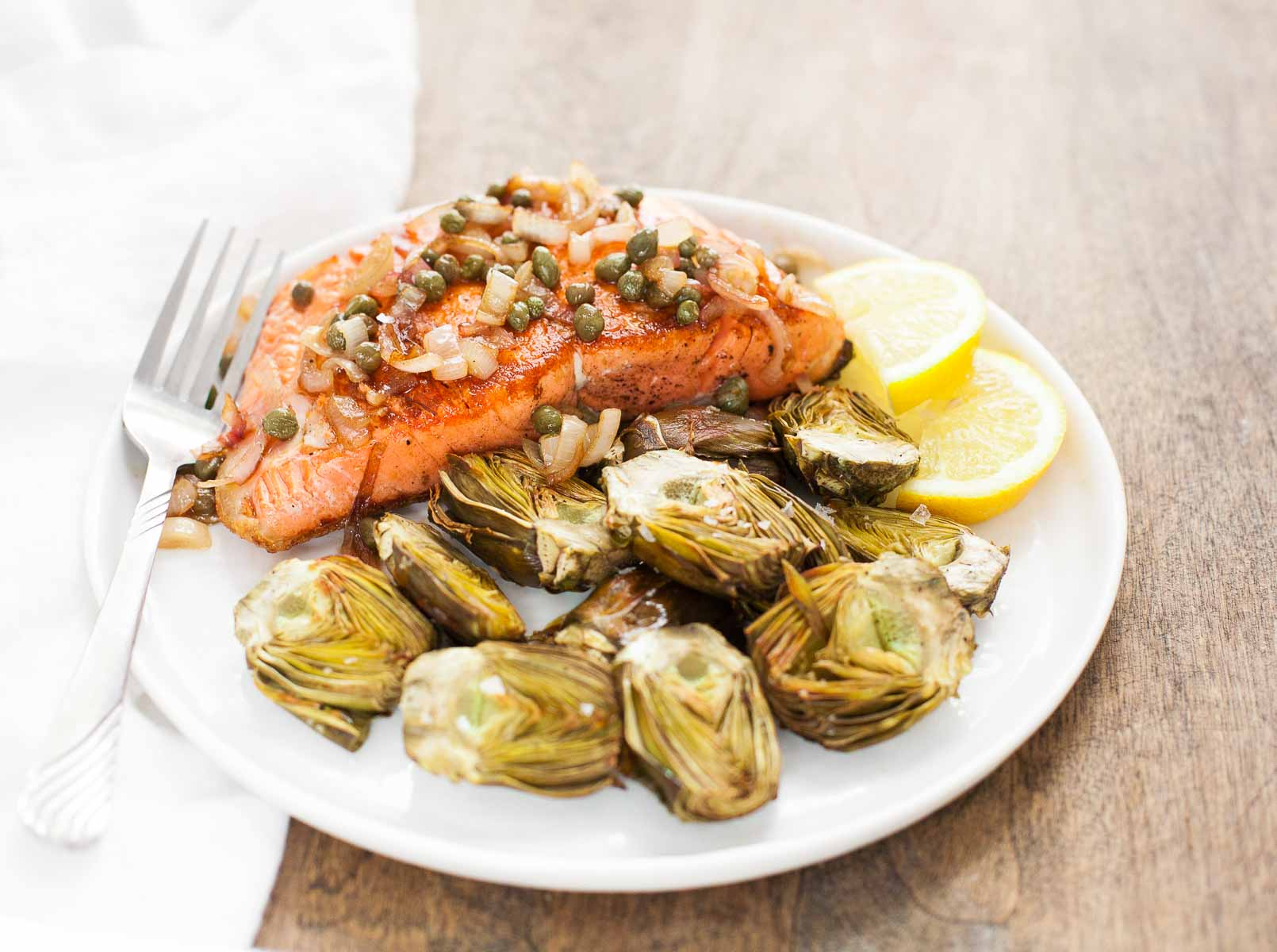 Top 15 Paleo Recipes of 2015--Pan-Seared Salmon with Capers and Baby Artichokes (Whole30) | acalculatedwhisk.com