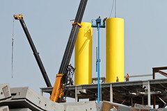 Yellow ventilation stacks brighten up SR 99 tunnel's south portal