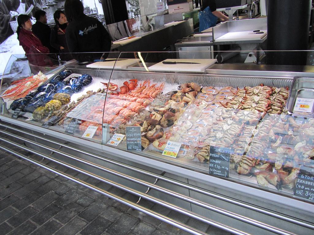 Marisco en el mercado de pescado de Bergen