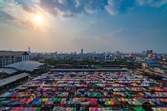 Sunset scence of Bangkok night market in Bangkok city downtown