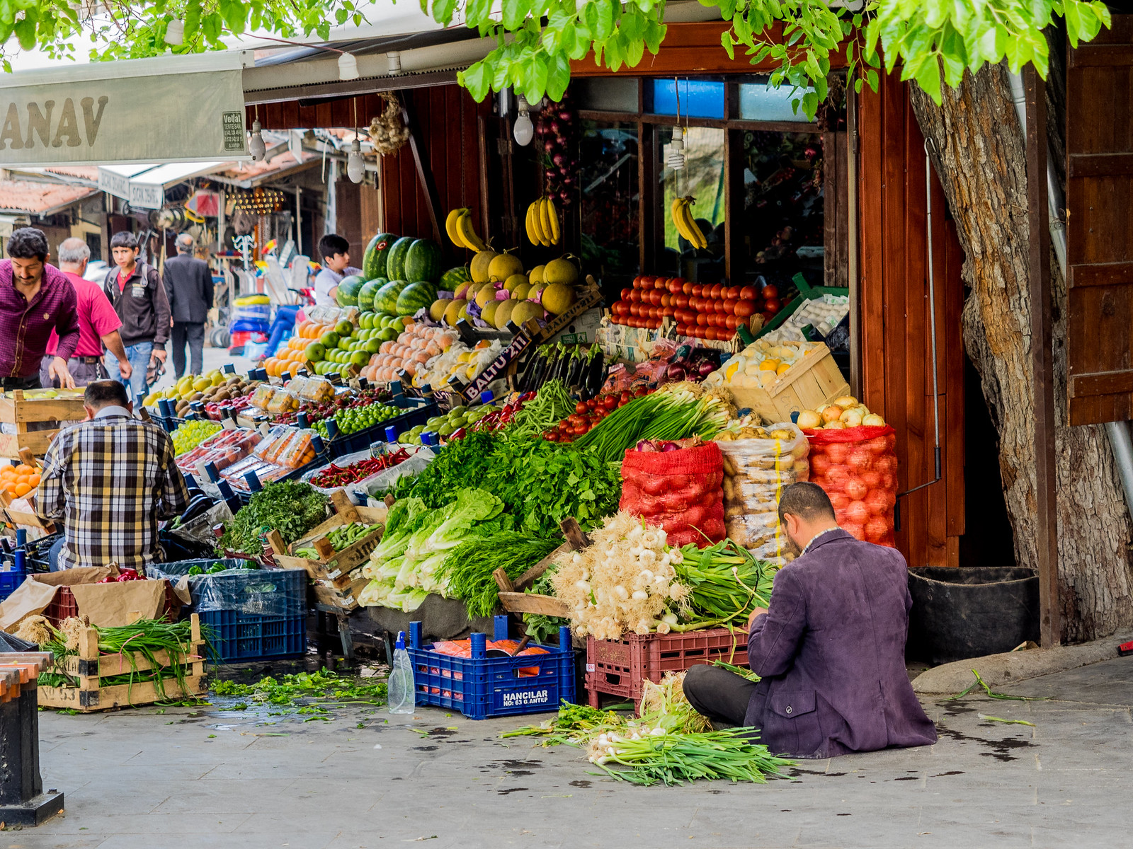 Early morning preparations in the greengrocers store / Gaziantep City / Turkey