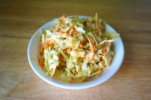 Classic mustard coleslaw, from overhead