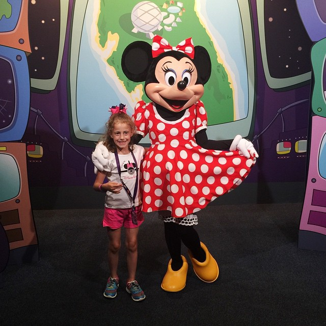 My baby girl and Minnie. She had to trade someone for a baby Minnie pin right after this (store workers will trade any pin you want). Boys are doing Mission Space. No thanks! 😉👍❤️ #Disney #Minnie