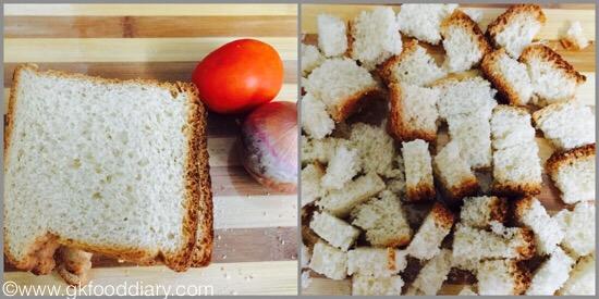 Bread Upma for kids - step 1