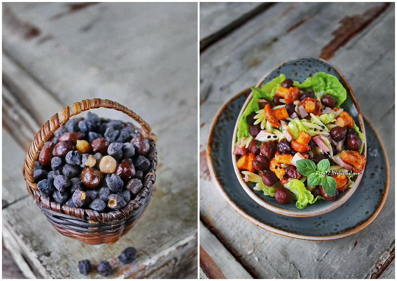 ...salad chanterelles and black chickpeas collage