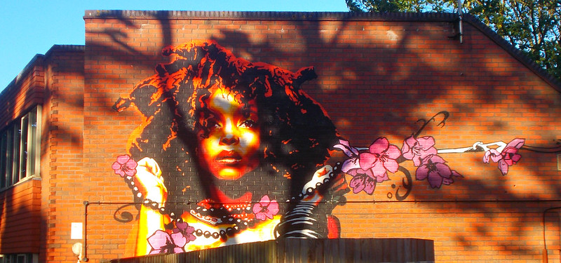 Eva Mena street art - Erykah Badu, SUTTON, Surrey, Greater London