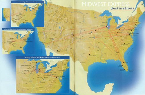 Midwest Express route map, May/June 2001