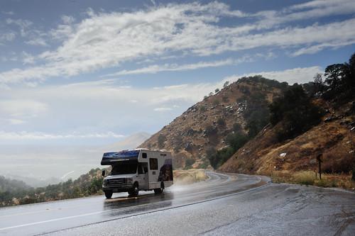 places america california kingscanyonnationalpark northamerica sequoianationalpark usa unitedstatesofamerica camper clearing rain sierranevada sierras snow wet