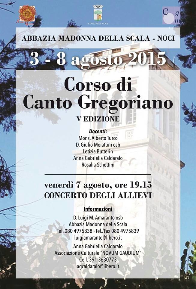 canto gregoriano corso 3 agosto