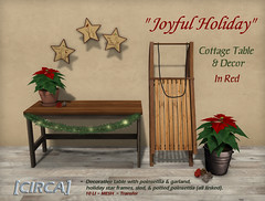 "[CIRCA] - ""Joyful Holiday"" - Cottage Table & Decor - Red"