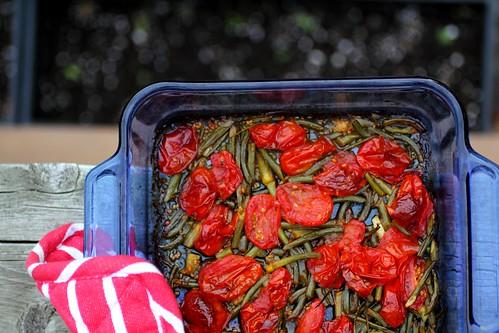 Roasted Garlic Scape and Tomato Pasta