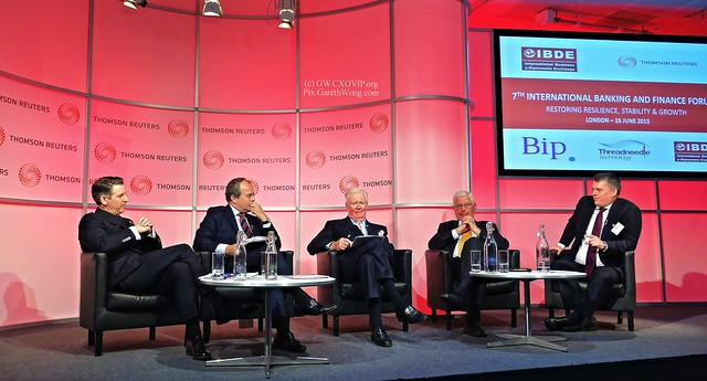 Rudi Guraziu, ExecChair, IBDE David Craig, President Thomson Reuters, Sir Win Bischoff, Chairman, FRC & J.P. Morgan Securities plc, Sir Thomas Harris, Chairman, EFS, Simon Hunt, FS UK COO, Head of UK Banking and Capital Markets, PwC from RAW _DSC5670