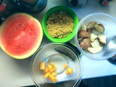 Quinoa Watermelon Cantaloupe Sliced Red Potatoes