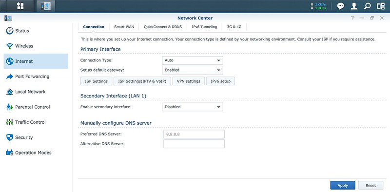 Synology SRM - Network Center - Connection