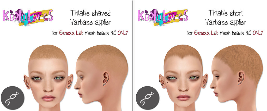 [KoKoLoReS] Tintable Hairbases appliers for Genesis Lab mesh heads 3.0 - SecondLifeHub.com