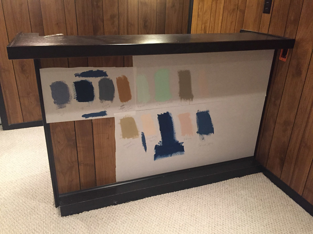 Paint samples on paintable wallpaper