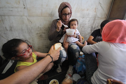 Syrian refugees stranded at Thessaloniki, northern Greece