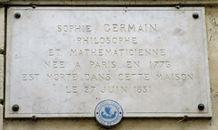 Photo of Sophie Germain marble plaque