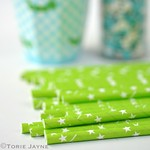 Star Print Green Straws