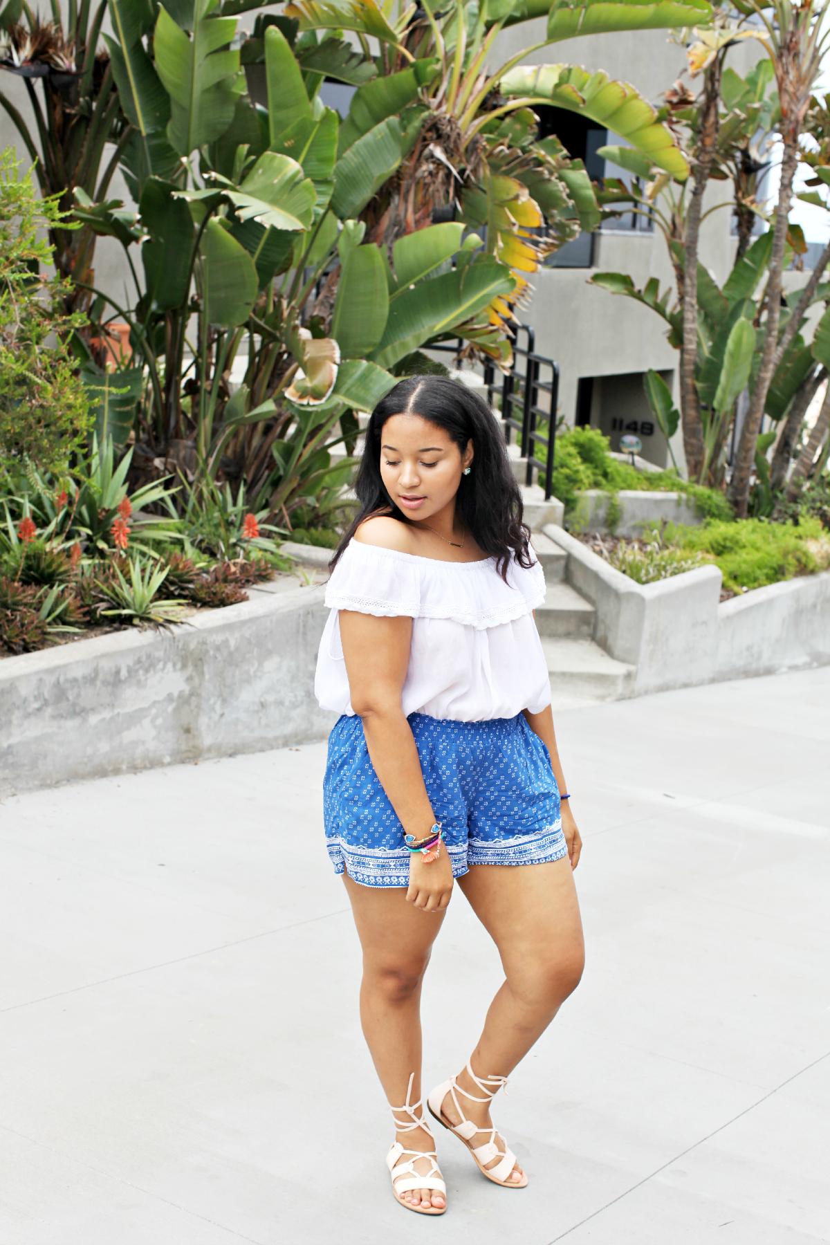Off Shoulder Top & Printed Shorts