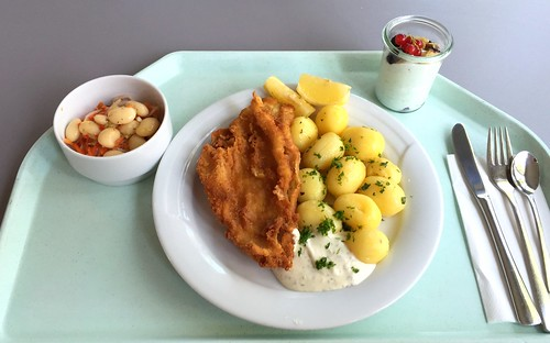 Baked plaice filet with remoulade & potatoes / Gebackenes Schollenfilet mit Remoulade & Salzkartoffeln