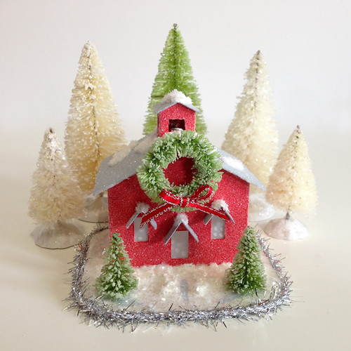 How to: decorate a putz house with snow and glitter / AllThingsPaper.net