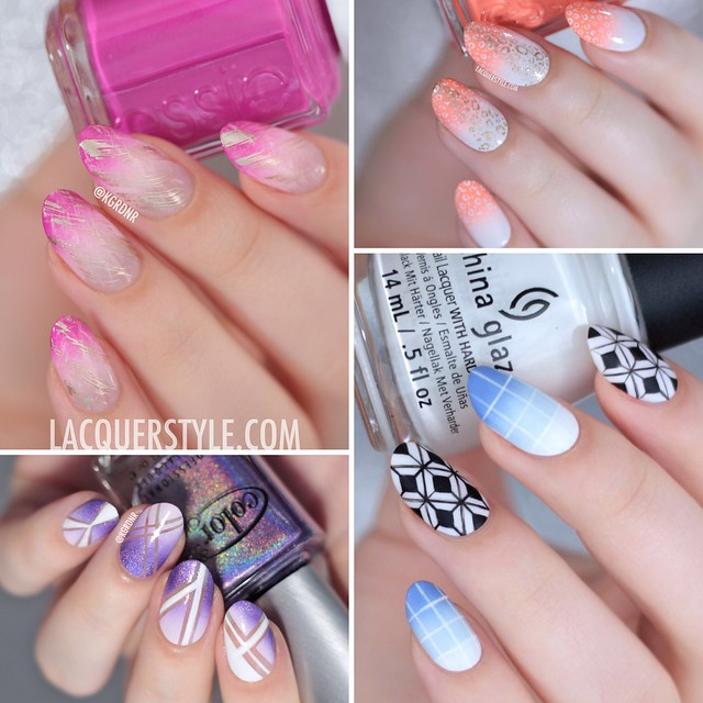 #WNAC2015 July / Gradients, nail art, lacquer style, essie, too taboo, negative space nails, geometric, leopard cheetah print, dry brush, color club,