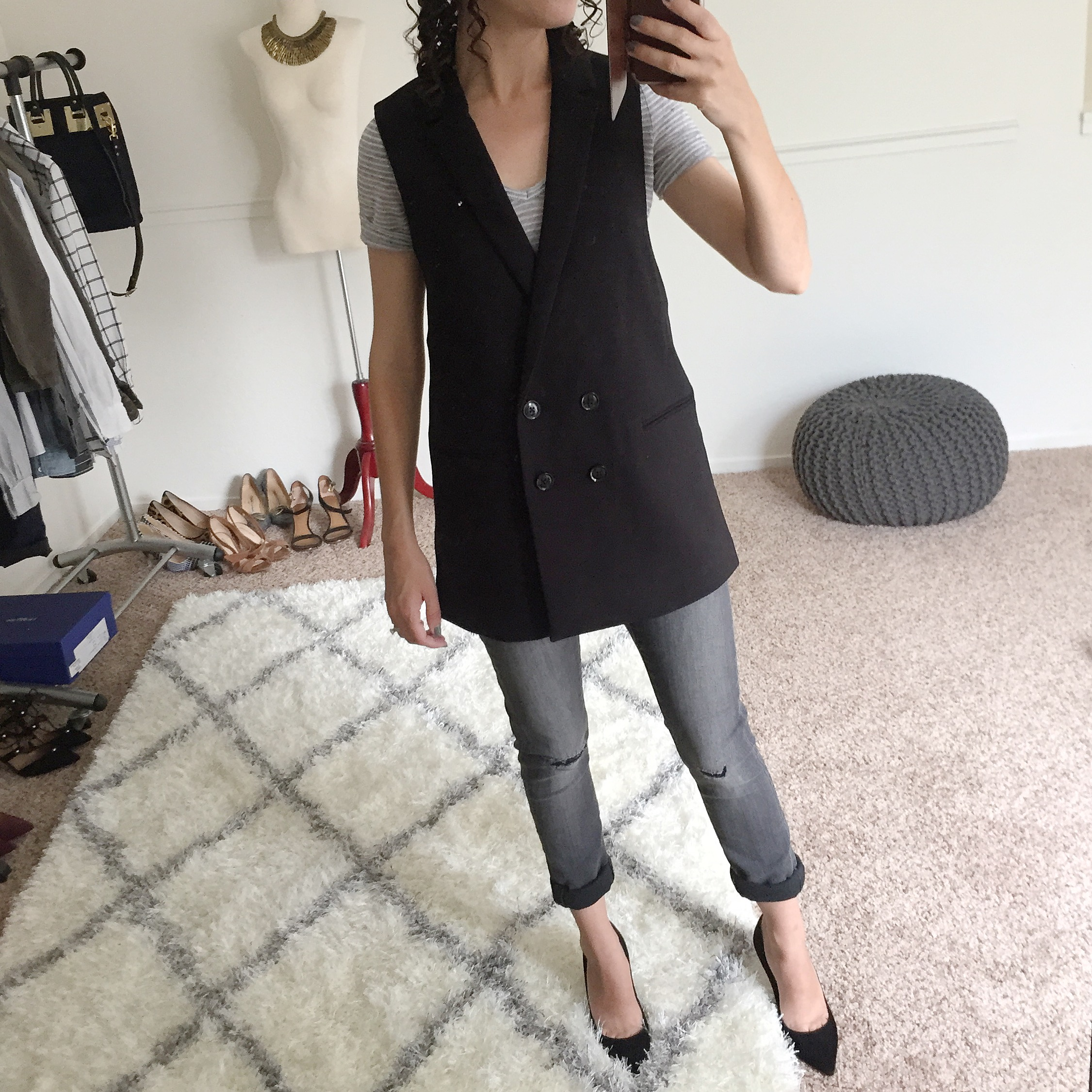 Banana Republic Petites Double-Breasted Long Vest Fit Review - Black