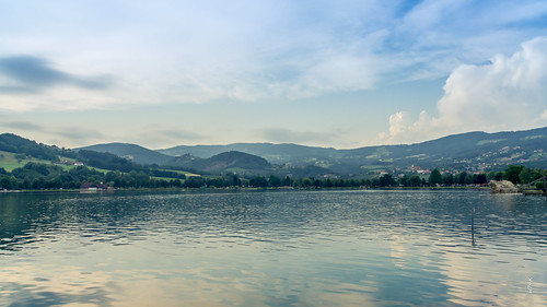 lake water landscape scenery view hill