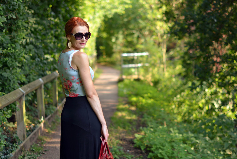 Black maxi, floral tank, strappy flats | Not Dressed As Lamb