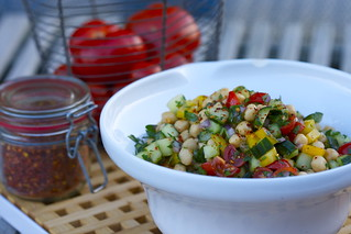 chickpea salad with cucumbers, tomatoes & peppers