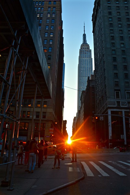 Manhattan street sunset