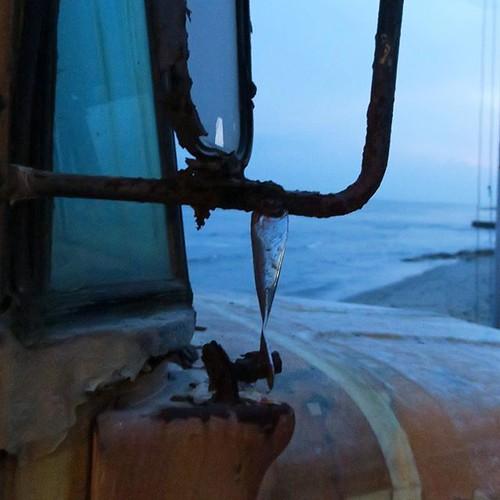 潮風に吹かれて朽ちていくスクールバス。